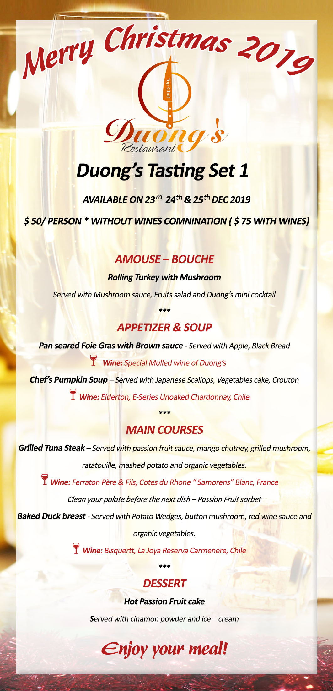 Special Duong's Set Menu for Christmas 2019